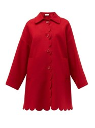 Red Valentino Redvalentino Scalloped Single Breasted Wool Blend Coat