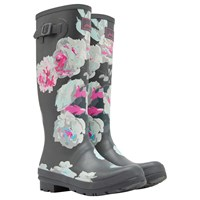 Joules Tall Printed Bloom Rubber Wellington Boots Grey