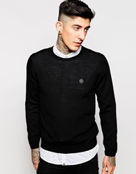 Pretty Green Jumper In Merino Wool Black