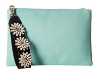 Jessica Mcclintock Gigi Flower Applique Pouch Clutch Teal Clutch Handbags Blue