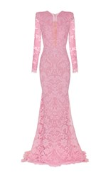 Alex Perry Darius Lace Sheer Front Long Sleeve Gown Pink