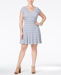 Love Squared Plus Size Cap Sleeve Striped Fit And Flare Dress Indigo Natural