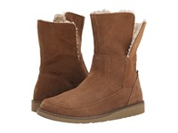 Sanuk Drop Top Suede Chestnut Women's Pull On Boots Brown