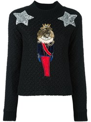 Dolce And Gabbana Lion Soldier Patch Jumper Black