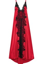 Rosamosario Madame Shehu Lace Paneled Silk Satin Nightdress Red