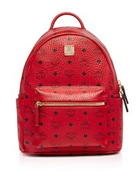 Mcm Stark Small Backpack Dark Red Gold