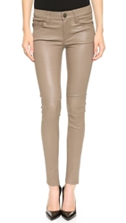 Current Elliott The Ankle Skinny Stretch Leather Pants Fawn