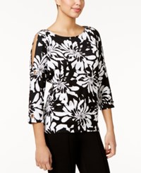 Cable And Gauge Printed Grommet Trim Top Black White Print