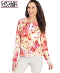 Charter Club Petite Long Sleeve Painterly Floral Cardigan Rouge Red Combo