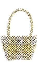 Loeffler Randall Mina Beaded Mini Tote In Metallic Gold. Gold And Silver