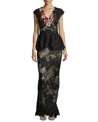 Mandalay Cap Sleeve Floral Lace Gown Black