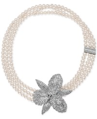 Nina Silver Tone Pave Orchid Imitation Pearl Triple Strand Necklace