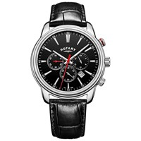 Rotary Gs05083 04 Men's Monaco Chronograph Date Leather Strap Watch Black