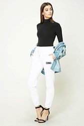 Forever 21 Brklyn Fleece Sweatpants White Black