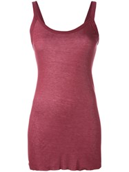 Rick Owens Lilies Elongated Semi Sheer Tank Red