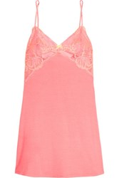 Heidi Klum Intimates Sabine Lace Trimmed Stretch Modal Chemise Coral