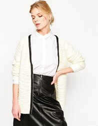 Shae Wool Blend Leather Trimmed Zip Front Cardigan Solidpowder