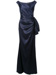 Badgley Mischka Ruched Gown With Bow Detail Blue