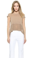 Viktor And Rolf Cap Sleeve Pointelle Top Beige