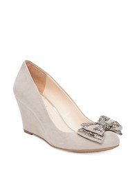 Jessica Simpson Selonia Bow Accent Wedge Pumps Light Beige