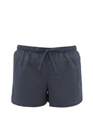 Derek Rose Plaza Polka Dot Cotton Pyjama Shorts Navy