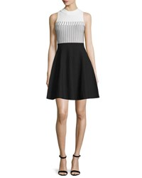 Milly Mock Neck Colorblock Fit And Flare Dress White Black
