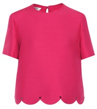 Valentino Scalloped Wool And Silk Top Pink