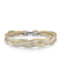 Alor Braided Stainless Steel Micro Cable Bracelet Yellow Gray