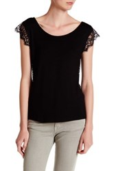 Vanity Room Scalloped Lace Trim V Back Tank Black