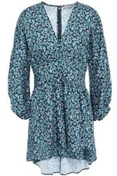 Lela Rose Woman Gathered Floral Print Twill Blouse Turquoise