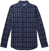 Blue Blue Japan Checked Cotton Flannel Shirt Indigo
