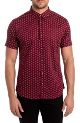 7 Diamonds Men's Crystal Film Woven Shirt Burgundy