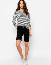 Jdy J.D.Y Classic Over The Knee Denim Shorts With Rolled Hem Black