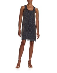 Chetta B Beaded Shift Dress Navy Bronze