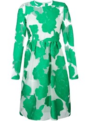 P.A.R.O.S.H. Sheer Floral Midi Dress Green