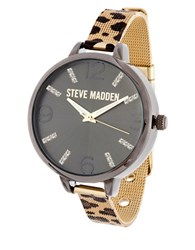 Steve Madden Cheetah Mesh Stainless Steel Watch Gold