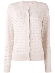 Givenchy Pearl Embellished Cardigan Women Silk Polyester Wool Glass L Nude Neutrals