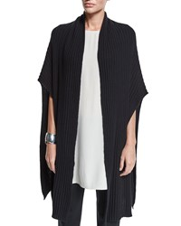 Ribbed Fine Gauge Cashmere Wrap Poncho Women's Soft White Eileen Fisher