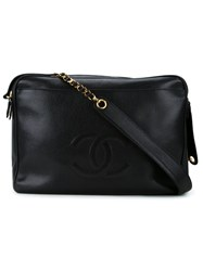 Chanel Vintage Cc Logo Messenger Bag Black