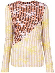 House Of Holland Contrast Panelled Floral Top Orange
