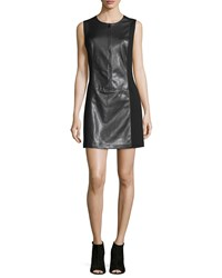 Laundry By Shelli Segal Sleeveless Faux Leather Shift Dress Black