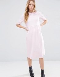 Asos Peter Pan Collar Smock Structured Dress Nude