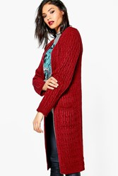 Boohoo Soft Knit Marl Cable Cardigan Wine