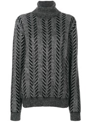 Saint Laurent Knitted Turtle Neck Sweater Women Nylon Mohair Wool S Grey