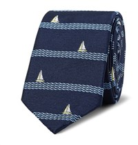 Thom Browne 5.5Cm Sailboat Patterned Silk Jacquard Tie Navy
