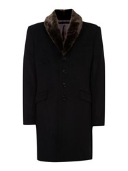 Corsivo Men's Corsini Cashmere Blend Coat With Faux Fur Collar Black
