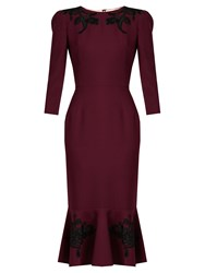 Dolce And Gabbana Floral Applique Wool Crepe Dress Burgundy