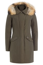 Woolrich Down Jacket With Fur Trimmed Hood Green