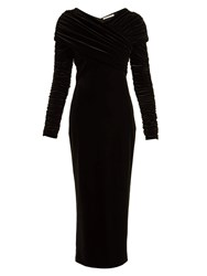 Christopher Kane Gathered Stretch Velvet Dress Black