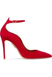 Aquazzura Dolce Vita Suede Pumps Red